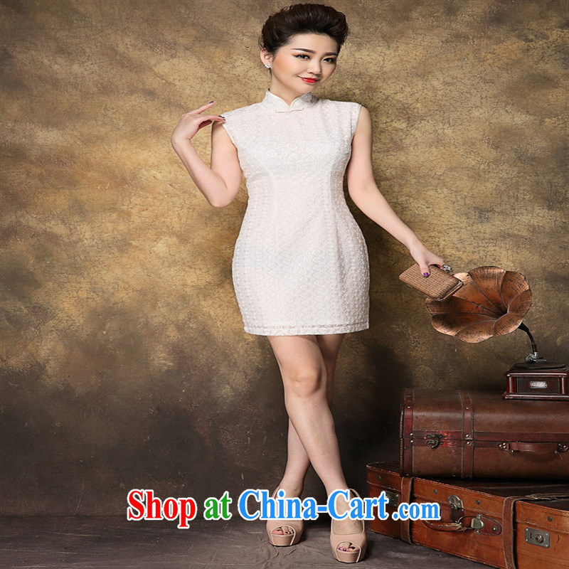Ya-ting store summer 2015 new Chinese qipao dress snowflake embroidered sleeveless white dresses, short style white XL, blue rain bow, and shopping on the Internet