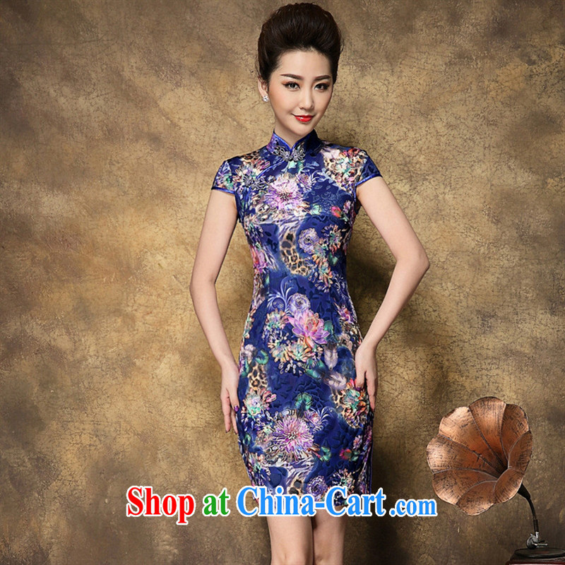 Ya-ting store summer 2015 new blue suit avalanche Peony spring dresses wool retro old beach picture color XXL