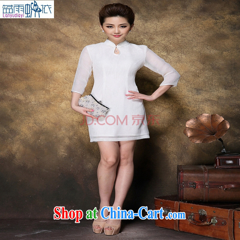 Ya-ting store summer 2015 new cuff in tartan Web yarn cheongsam Chinese qipao ethnic white XL