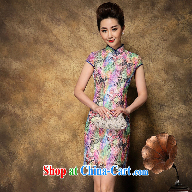 Ya-ting store summer 2015 new Chinese Chinese qipao Palace style cheongsam dress ethnic wind picture color XL