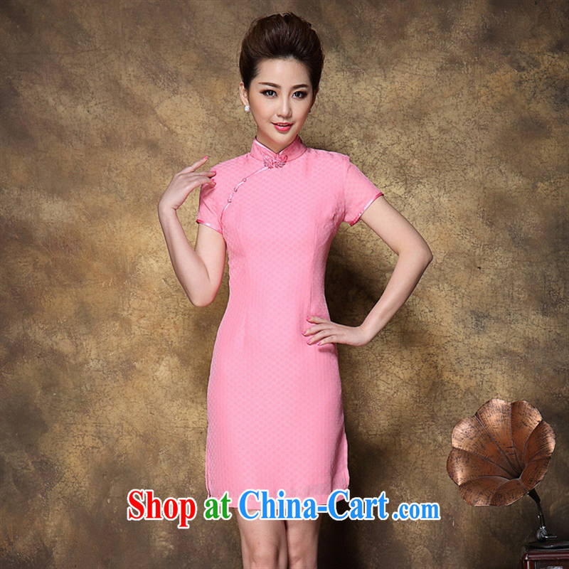 Ya-ting store Chinese Tang replace summer New Beauty style cheongsam dress feminine and elegant imperial robes short pink XL