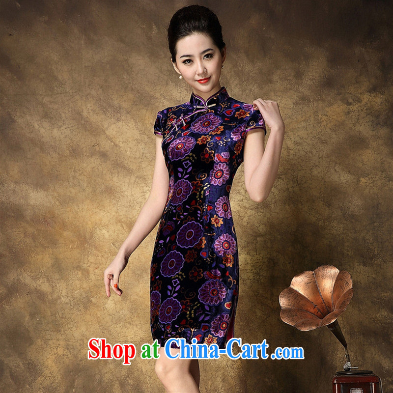 Ya-ting store summer 2015 New National wind Silk Velvet short sleeve cheongsam beauty aura picture color XXXL