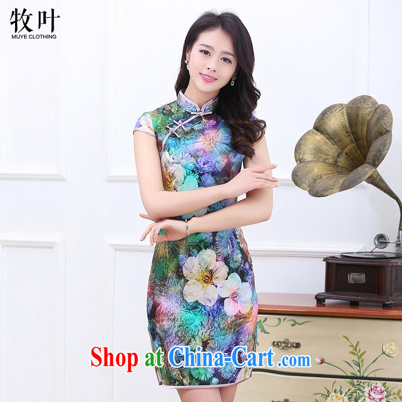The leaf 2015 summer new stylish retro stamp sleeveless dresses beauty 7 color M