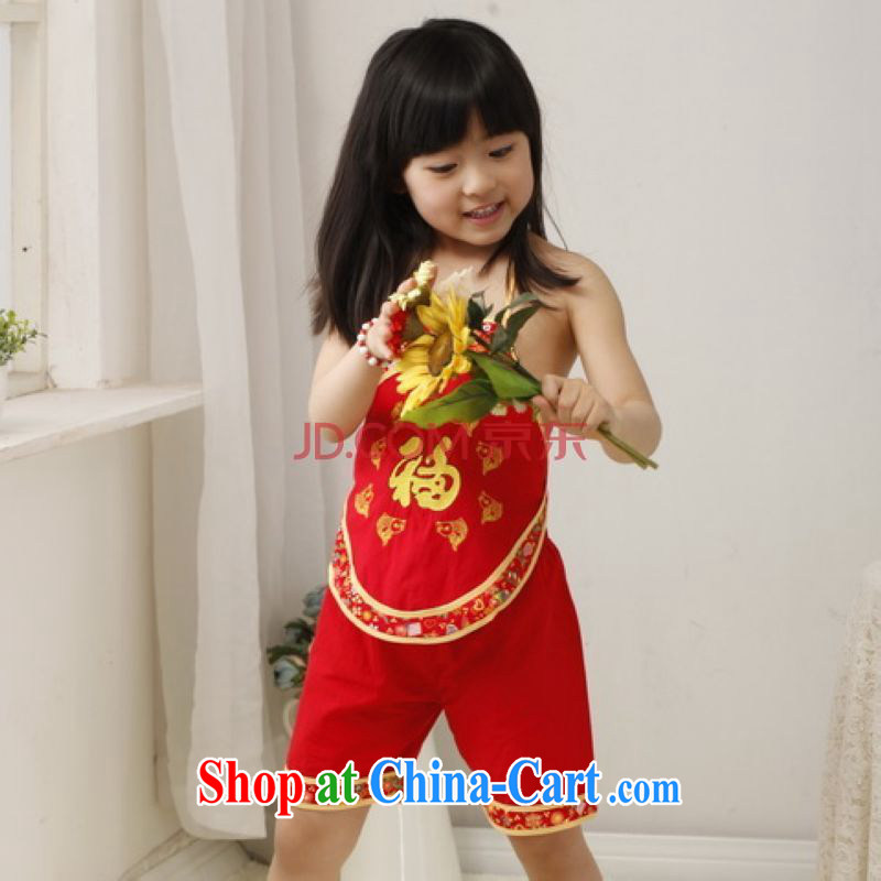 He Jing Ge children Chinese qipao cotton two-piece children Tang Package Women's clothes embroidered Package - A red height 130 CM