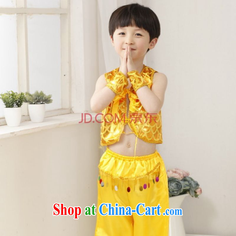 He Jing Ge children Chinese qipao,two-piece children's Chinese package men's performance service exercise clothing - A yellow height 130 CM