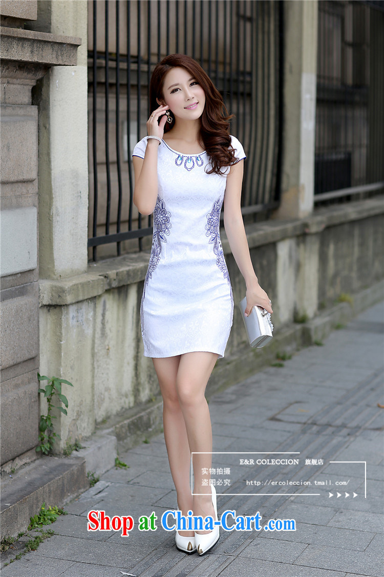 Summer 2015 new stylish embroidered improved cheongsam Korean Beauty antique cheongsam dress light blue XL pictures, price, brand platters! Elections are good character, the national distribution, so why buy now enjoy more preferential! Health