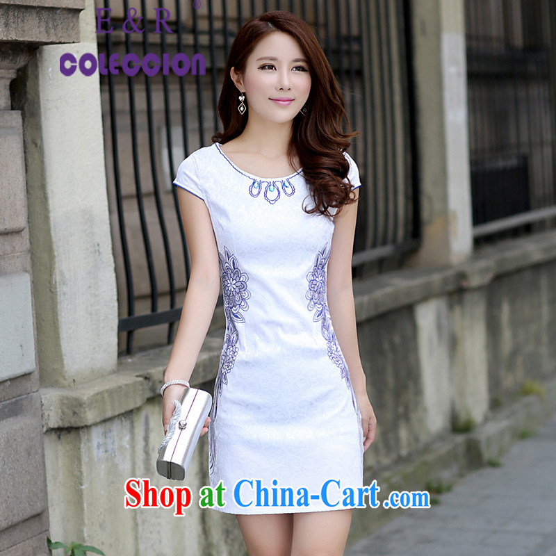 Summer 2015 new stylish embroidered improved cheongsam Korean Beauty antique cheongsam dress light blue XL