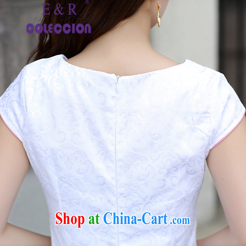 Summer 2015 new stylish embroidered improved cheongsam Korean Beauty antique cheongsam dress light blue XL, E &R COLECCION, and shopping on the Internet