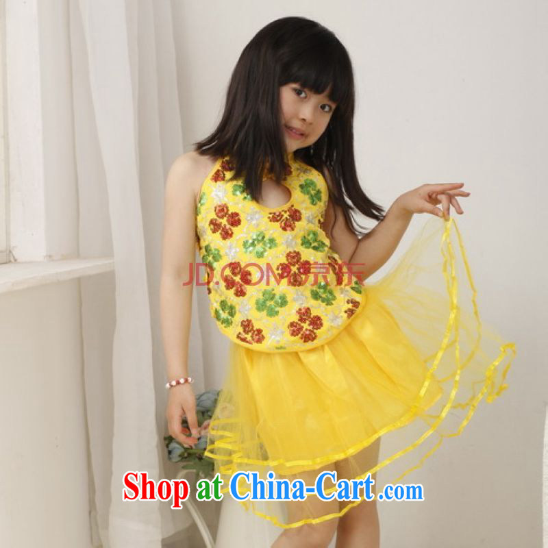 He Jing Ge children Chinese qipao Bong-tail small dress children's Chinese dresses women's clothing show clothing dress - A yellow height 120 CM