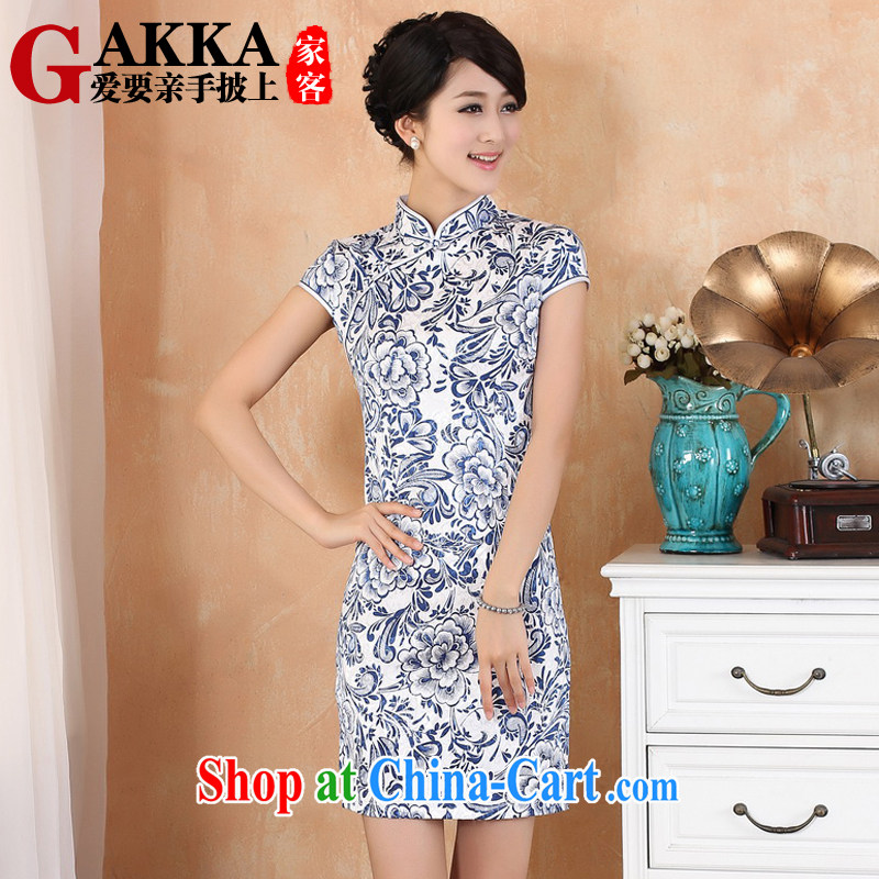 GAKKA 2015 spring and summer new blue vase elegant Womens cotton robes retro improved blue and white porcelain, for single row for cultivating dresses blue L