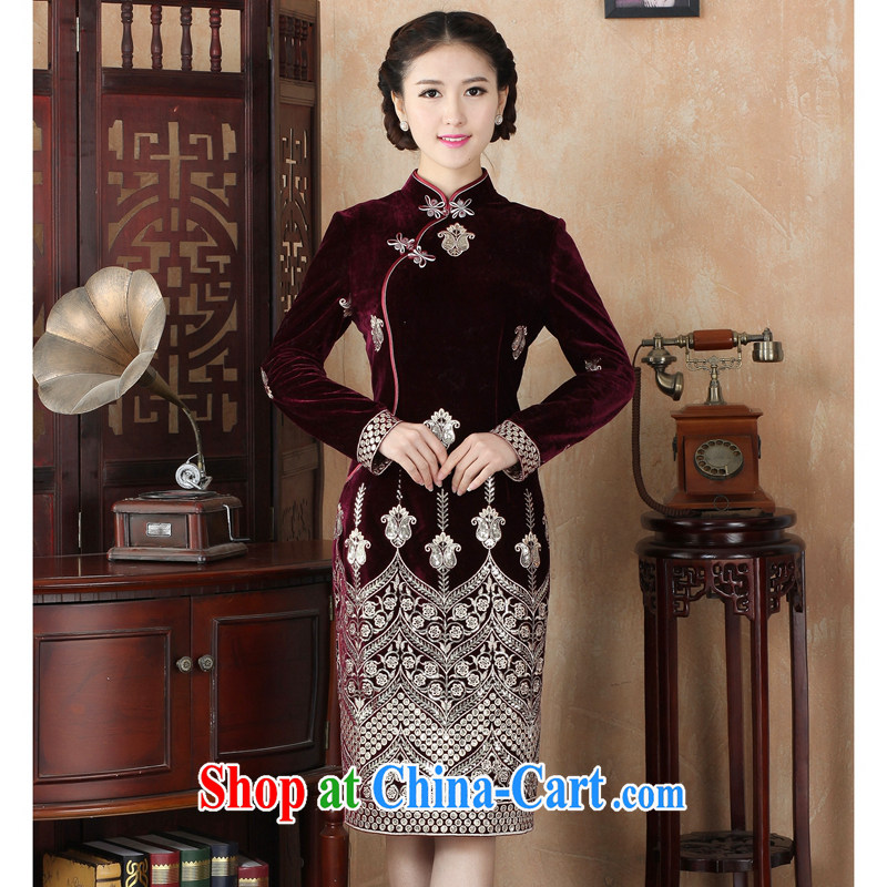 Take the spring dress cheongsam Chinese Chinese improved, for the wool, long retro beauty long-sleeved cheongsam dress such as the color L