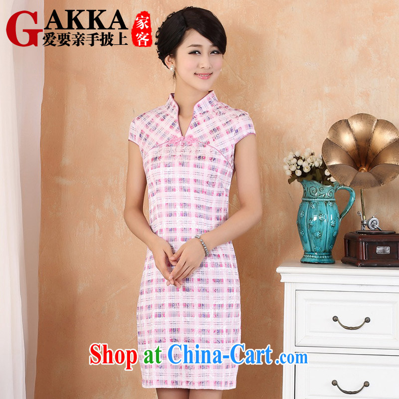 GAKKA 2015 spring and summer with new, Retro, qipao dress improved stylish beauty short tartan V collar elegant dresses Chinese Pink XXL