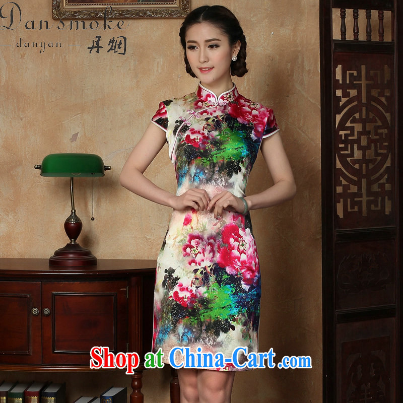 Bin Laden smoke female dresses summer new, Chinese silk, for painting short cheongsam Chinese improved sauna Silk Cheongsam short figure 3XL