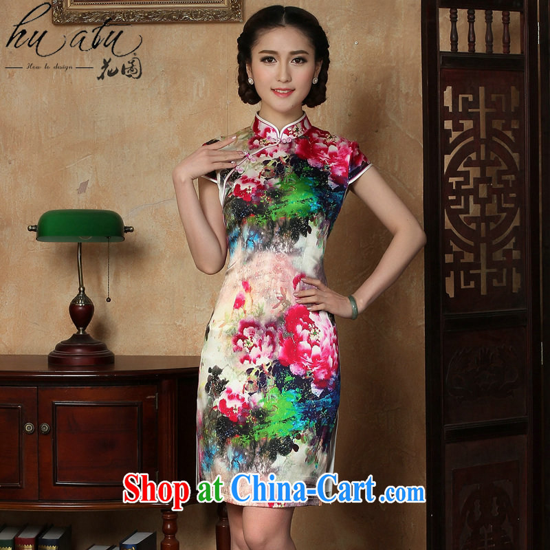 Take the female dresses summer new Chinese silk, for poster short cheongsam Chinese improved sauna Silk Cheongsam short figure 3XL
