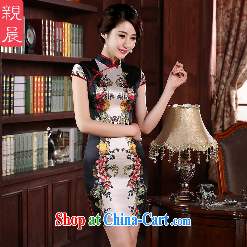 The pro-am 2015 as soon as possible new spring and summer daily sauna silk short retro exclusive fashion improved Silk Cheongsam short 2 XL
