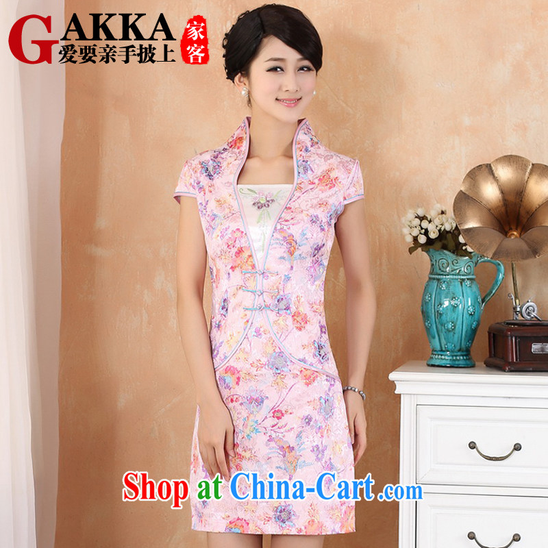 GAKKA 2015 spring and summer beauty style retro dresses women daily improved stitching stamp Chinese qipao dress up for National wind dresses pink XL