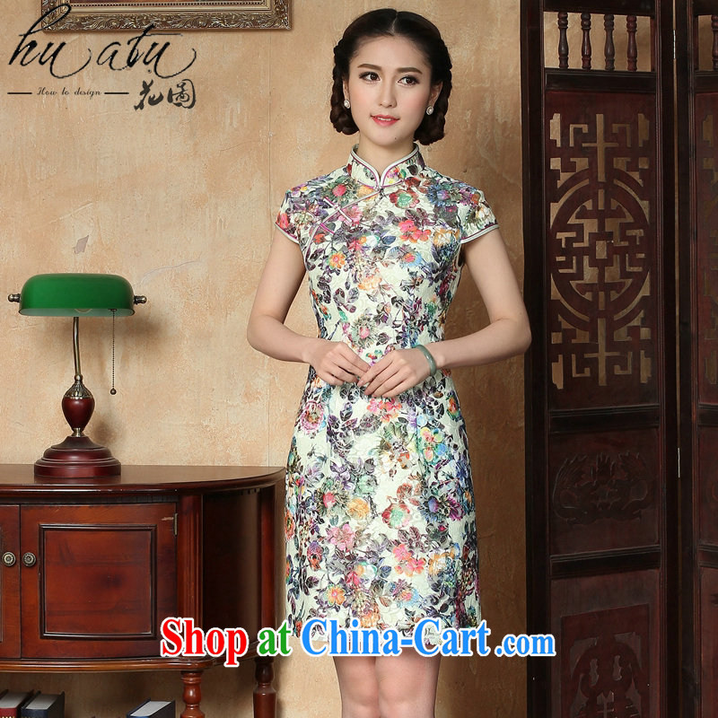 Take the dresses new summer Women's clothes Chinese improved lace short sleeves, for a tight suit short cheongsam dress figure-color 2 XL