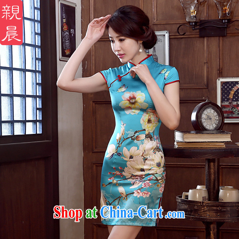 The pro-am 2015 as soon as possible new day spring and summer sauna silk upscale retro improved silk stylish short cheongsam short S