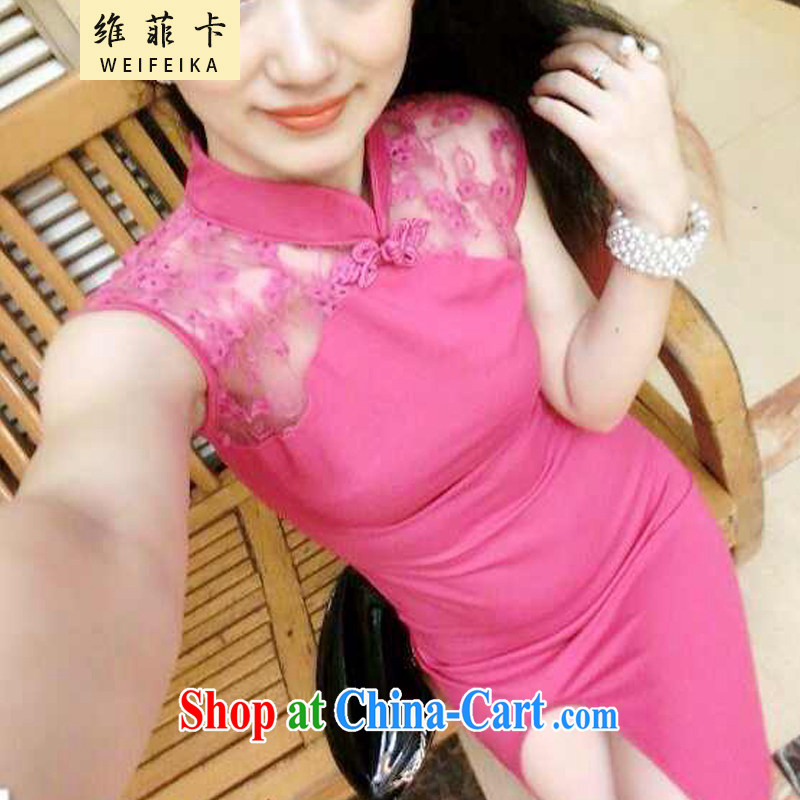 The Philippines card 2015 new European wind feminine 10 foot lace fluoroscopy the forklift truck cheongsam dress of red are code