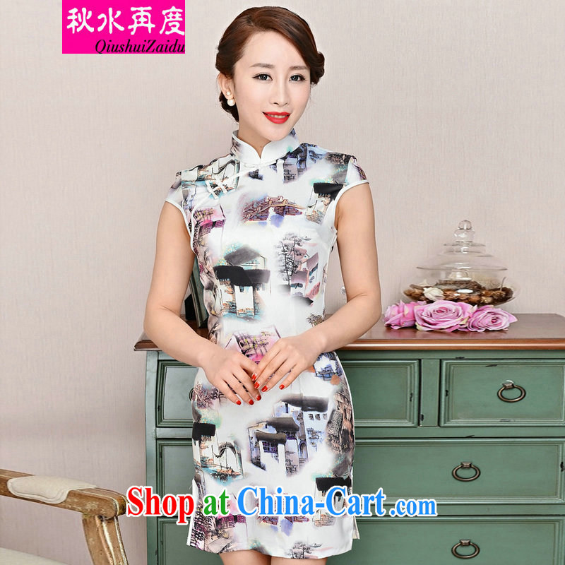 TAKES FOREVER re-dresses summer pack and dress in summer older female summer, long, short-sleeved dresses skirts improved short skirt low on the truck load mother dresses white package for house article landscape M