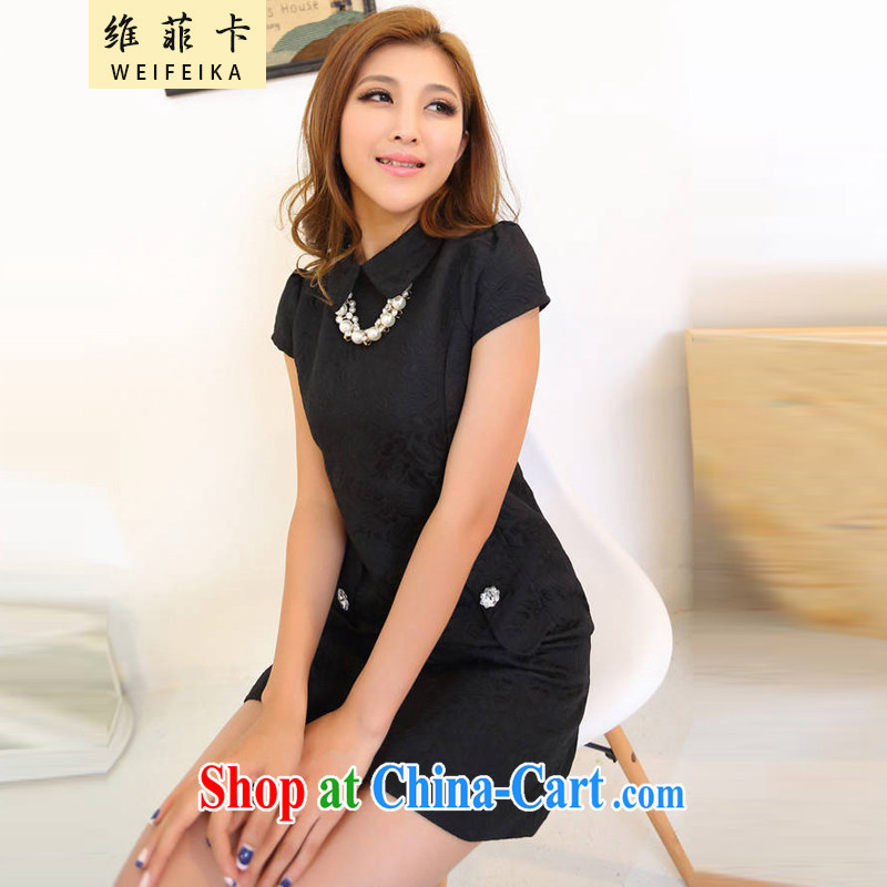 The Philippines 2015 card stock only to take China wind Solid Color elegance beauty dresses, girls dresses black L
