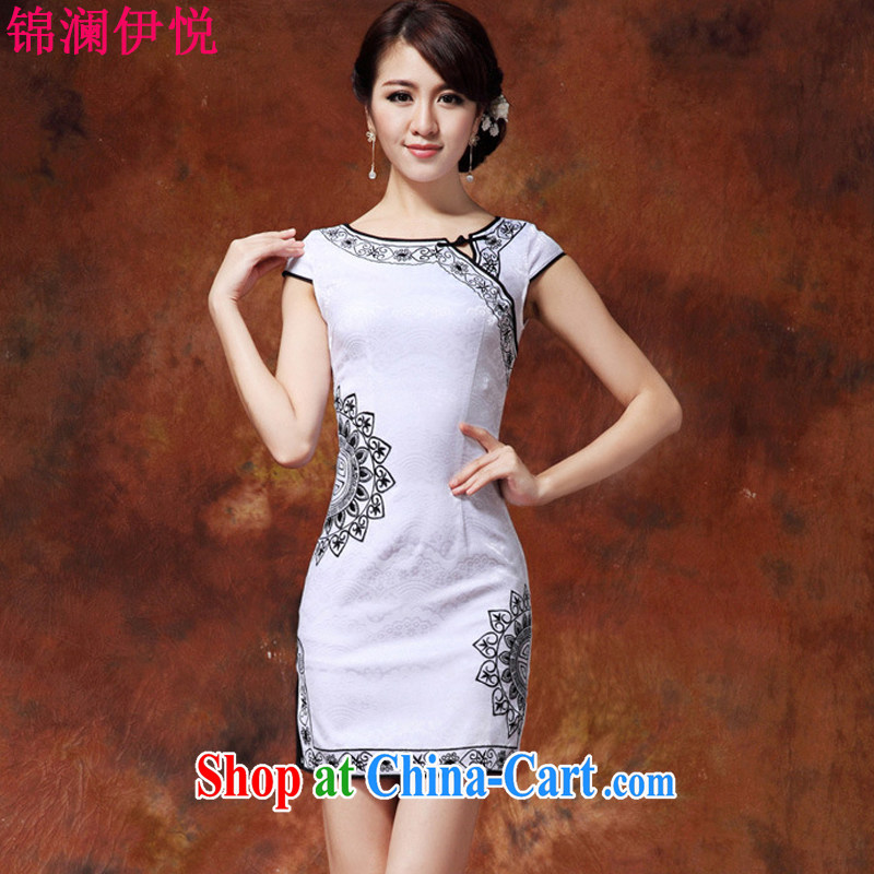 kam world the Hyatt 2015 summer new female short-sleeve beauty embroidery lace-tie video gaunt waist white blue and white porcelain goods improved daily dress short skirt and white black XL