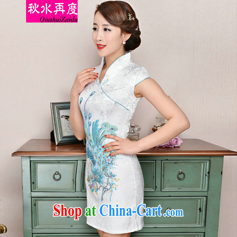 TAKES FOREVER re-dresses summer pack and dress in summer older female summer, long, short-sleeved cheongsam dress improved short skirt low on the truck load mother dresses white Phoenix orchids M