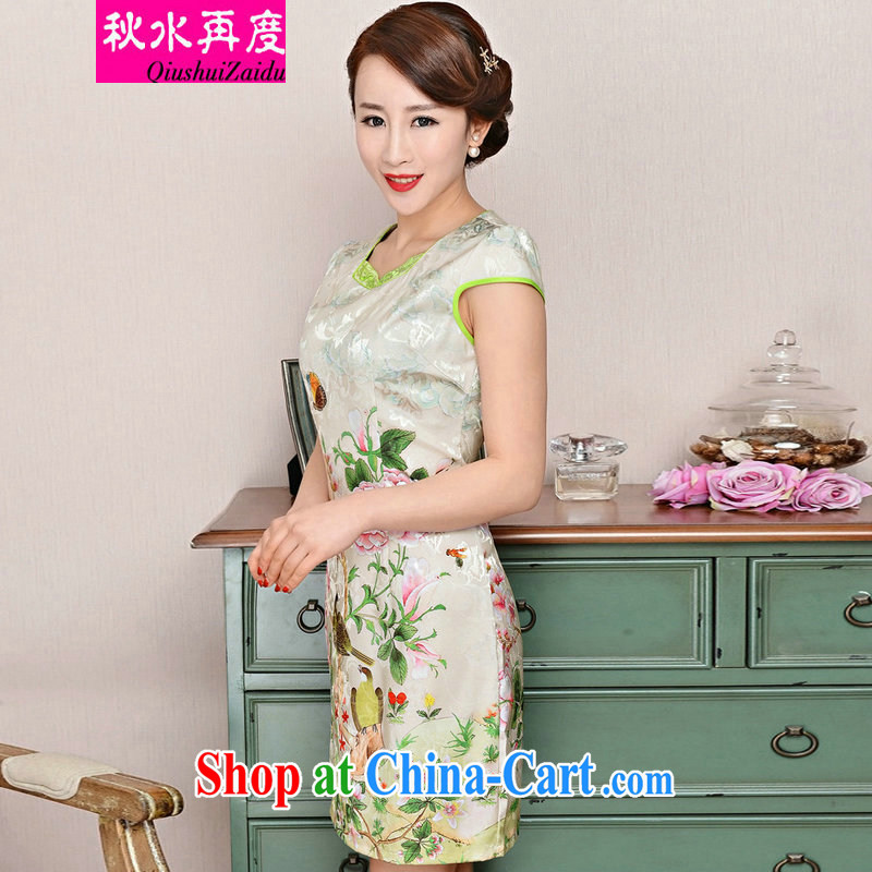 TAKES FOREVER re-dresses summer pack and dress in summer older female summer long, short-sleeved dresses skirts improved short skirt low on the truck load mother dresses toner spent Peony flowers M