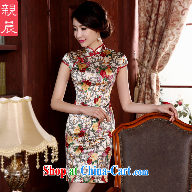 The pro-am 2015 as soon as possible new spring and summer Korean daily sauna silk stylish improved short retro Silk Cheongsam short 3 XL