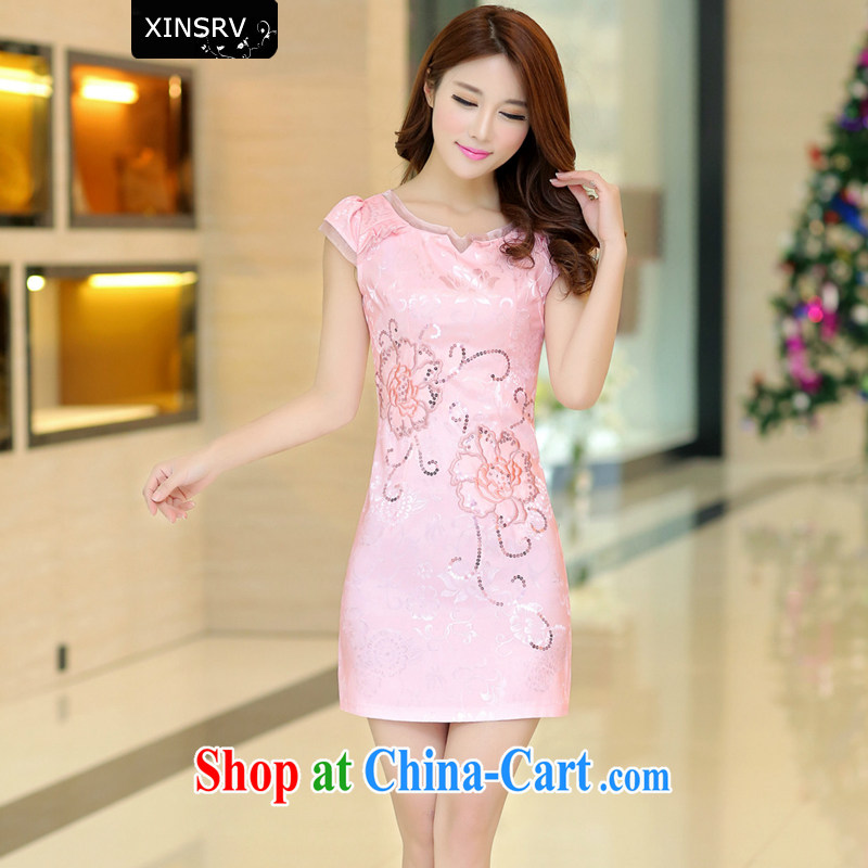 2015 summer dress new ethnic wind Chinese stamp duty retro beauty aura video thin lace short-sleeved package and cheongsam dress pink L
