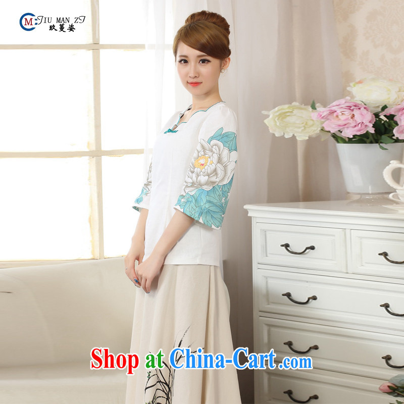 Ko Yo vines into exciting and 2015 new hand-painted horn cuff T-shirt cheongsam linen Chinese Ethnic Wind female Mr Ronald ARCULLI, Mr Tang is improved cheongsam DA M 0066