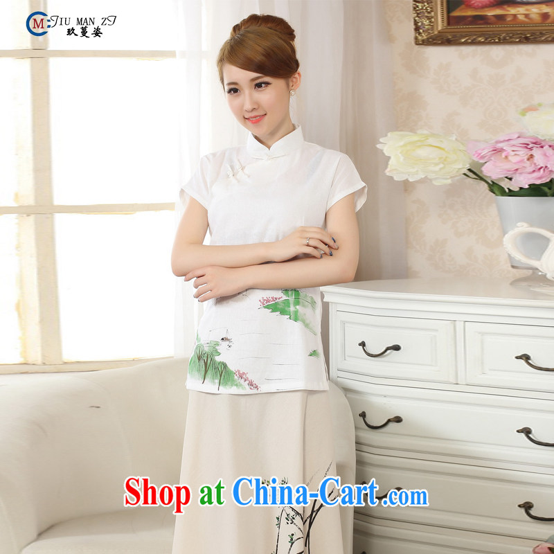 Ko Yo vines into exciting and new and old ancient hand-painted dresses with cotton linen the Chinese Ethnic Wind Jacket style female cool preferred Chinese improved A A 0068 0068 - B XXL