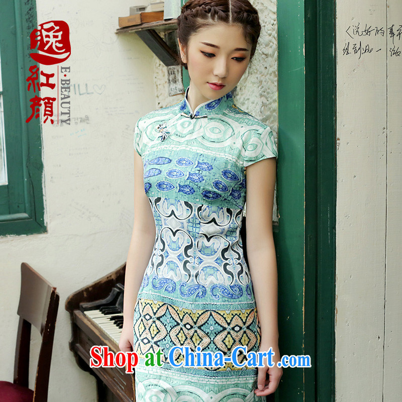 The proverbial hero once and for all -- equine snow woven stamp improved cheongsam dress 2014 summer new dresses retro style blue XL