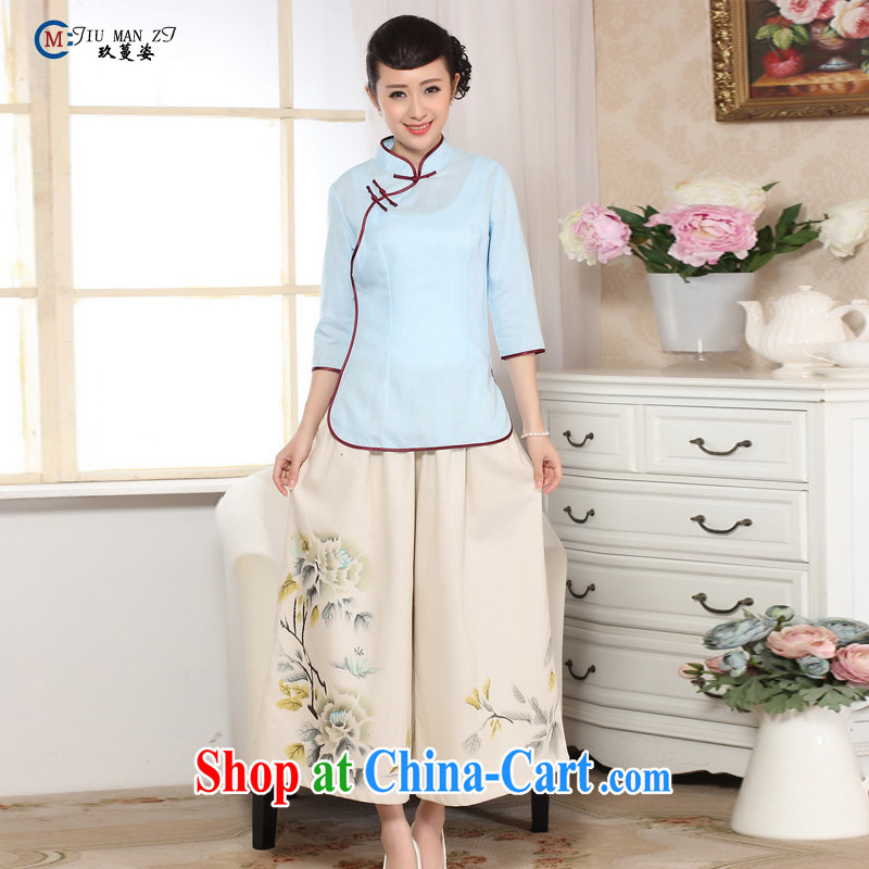 Ko Yo vines into colorful Old ancient Chinese Ethnic Wind blouses cultivating retro stamp comfortable T shirts and elegant ladies' Tang is new and improved, hand painted dresses A A 0070 0070 - A XXL