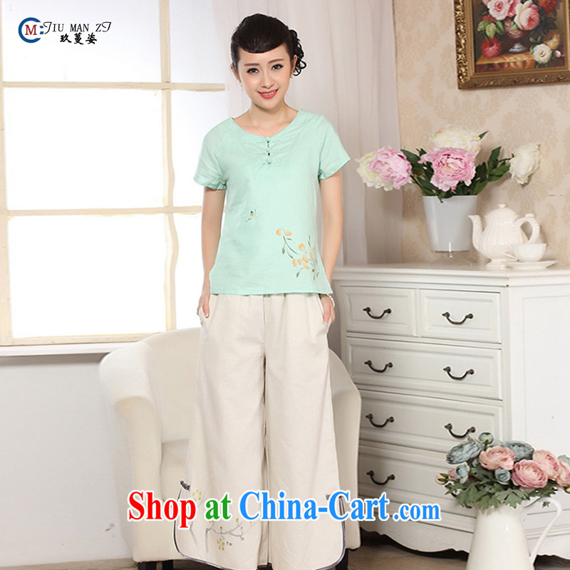Ko Yo vines into colorful retro hand-painted dresses and old ancient short-sleeved cotton Ma hand-painted shirt Ethnic Wind women summer, female Chinese improved A A 0072 0072 - D XXL