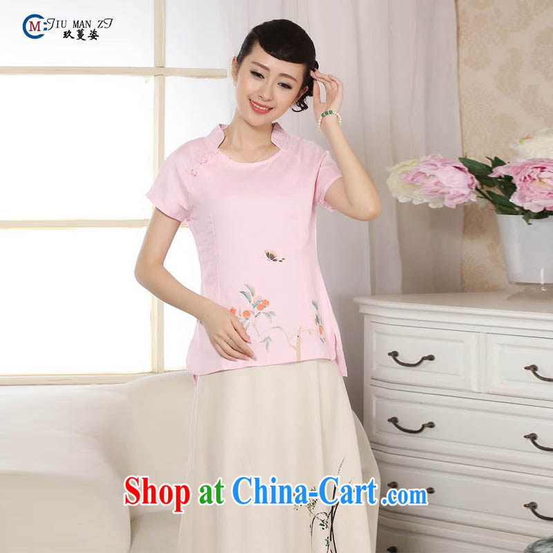 Ko Yo vines into colorful hand-painted short-sleeved qipao Chinese Ethnic Wind an elegant and refreshing female improvements in T-shirt cuff retro round-neck collar cheongsam plain colored cheongsam A XXL 0073