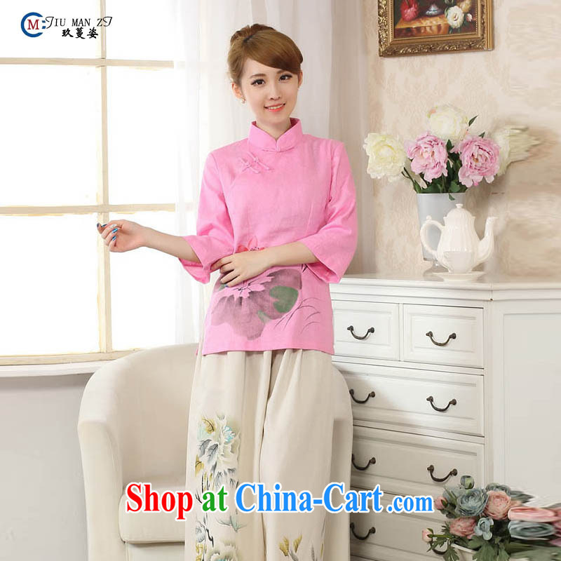 Capital city sprawl 2015 summer classic Chinese qipao stylish casual outfit, for Lotus hand-painted Solid Color cotton the material goods A A 0078 0078 - C XXL