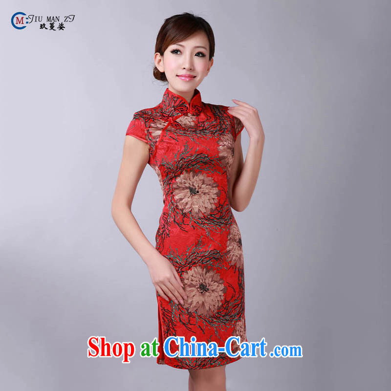 Ko Yo vines into colorful China wind antique dresses, red, short-sleeved qipao stamp short-linen truck material 2015 summer outfit, 0172 D XXL