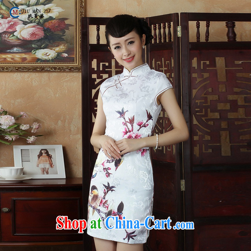 Ko Yo Mephidross colorful new short-sleeved low the forklift truck cheongsam stylish stamp duty, short, antique Chinese qipao 5 cotton short-sleeved T-shirt, Ms. D D 0248 0248 - B XXL