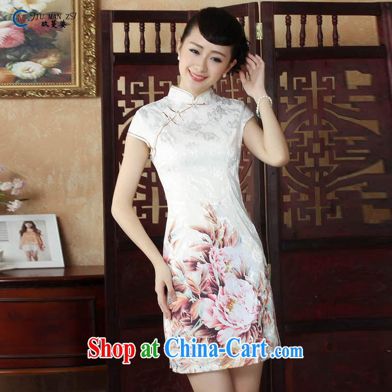 Ko Yo vines into colorful new short-sleeved low on the truck cheongsam stylish stamp duty, short, antique Chinese qipao 5 cotton short-sleeved T-shirt, Ms. D D 0248 0248 - B XXL, capital city sprawl, shopping on the Internet