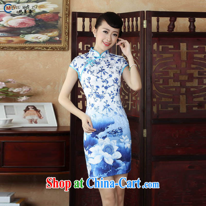 Capital city sprawl 2015 cotton short-sleeved T-shirt, Retro stamp duty and comfortable short, full cotton Tang with improved cheongsam cheongsam short-sleeved dresses D XXL 0249