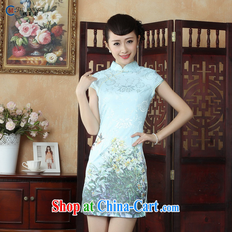 Ko Yo vines into exciting and 2015 new, ladies casual stylish painting retro short-sleeved dresses, for jacquard cotton Chinese qipao, summer D Ms. D 0251 0251 - B XXL