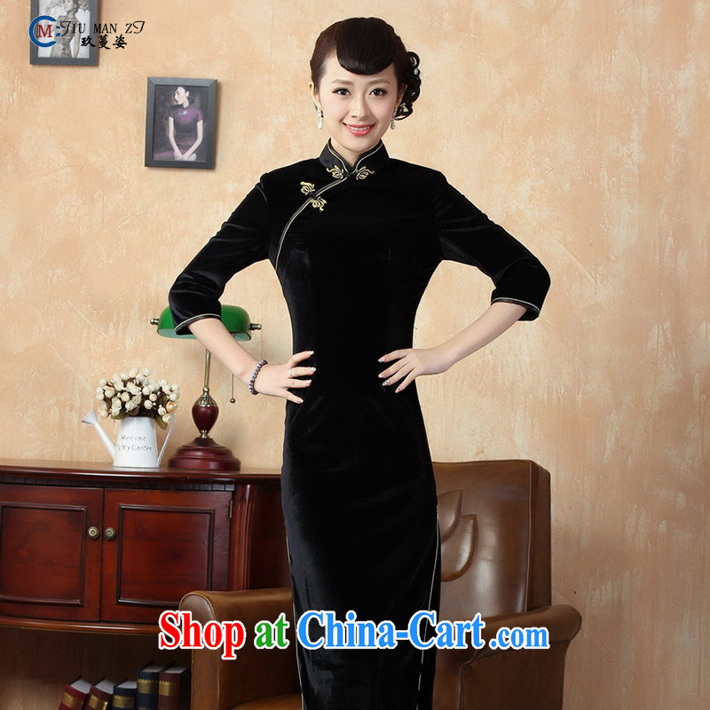 Capital city sprawl 2015 new long summer dresses solid color high on the truck long cheongsam dress, collar silk short-sleeved retro dresses T 0001 black XXXL