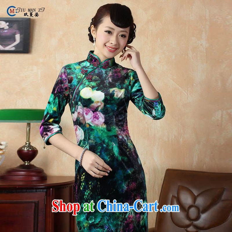 Ko Yo Mephidross colorful Chinese style retro short-sleeve and stamp duty for cheongsam elegant and comfortable dresses in low-power state beauty Silk Cheongsam, 0007 TD XL