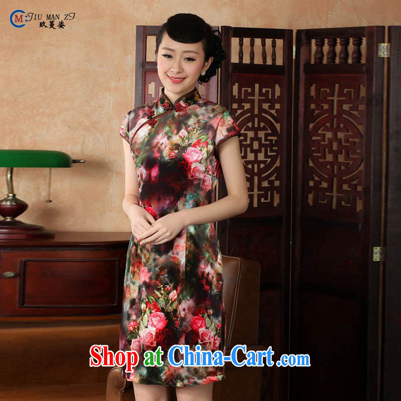Ko Yo vines into colorful China wind short-sleeve and stamp duty for 2015 qipao qipao in low-power's silk cultivation, qipao TD TD 0012 0012 - A XXL
