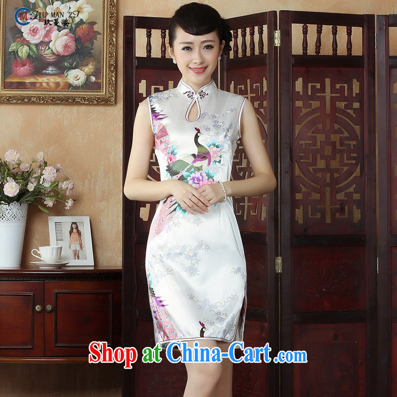 Ko Yo vines into colorful 2015 spring and summer New China wind retro short female cheongsam elegant and comfortable, for stamp duty female qipao D燚 009 009 - C XXL