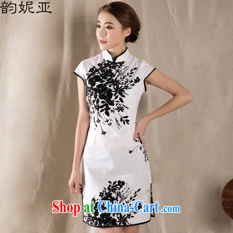 Connie was following the 2015 summer new Stylish retro dresses skirt China wind stamp dresses Z 1225 white XXL