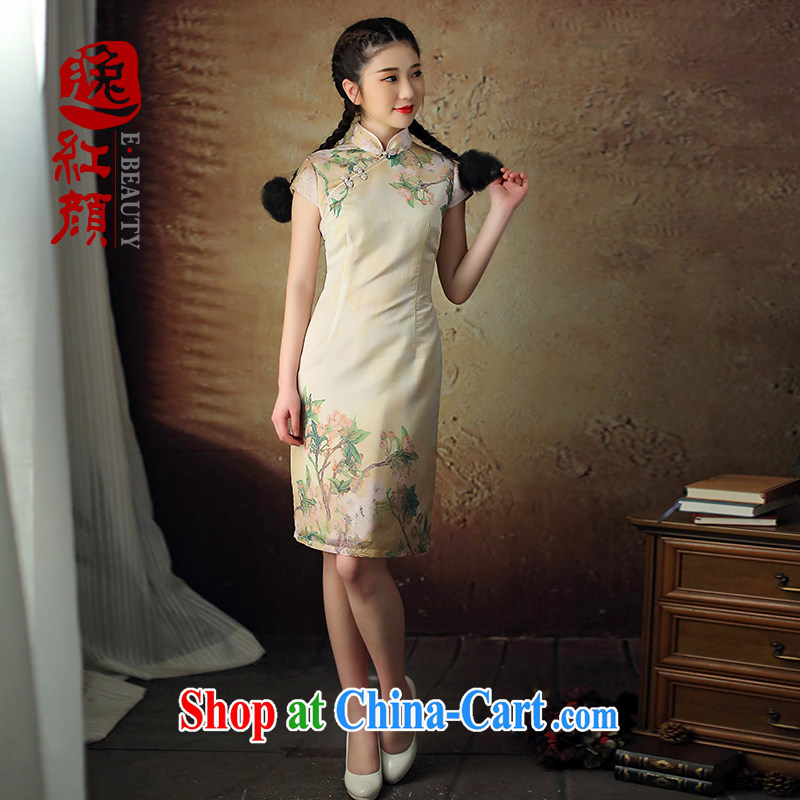 once and for all and fatally jealous Tang Copenhagen 2015 new cheongsam dress retro elegant summer dress outfit improved stylish light yellow 2XL