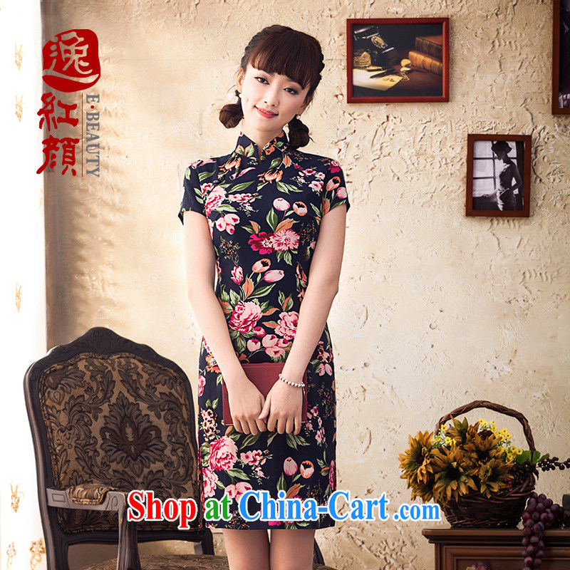 proverbial hero once and for all-night linen dresses skirts 2014 summer improved stylish cotton cultivating the cheongsam dress retro floral S
