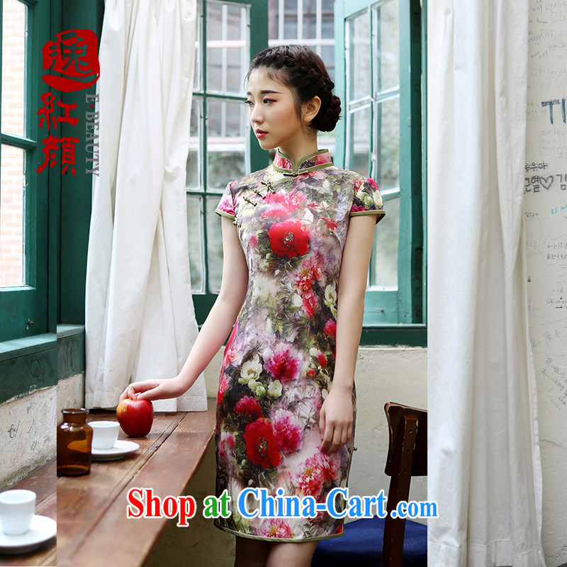 once and for all a proverbial hero curtain Meng sauna Silk Cheongsam dress spring and summer improved stylish beauty Silk Cheongsam dress suit 2 XL
